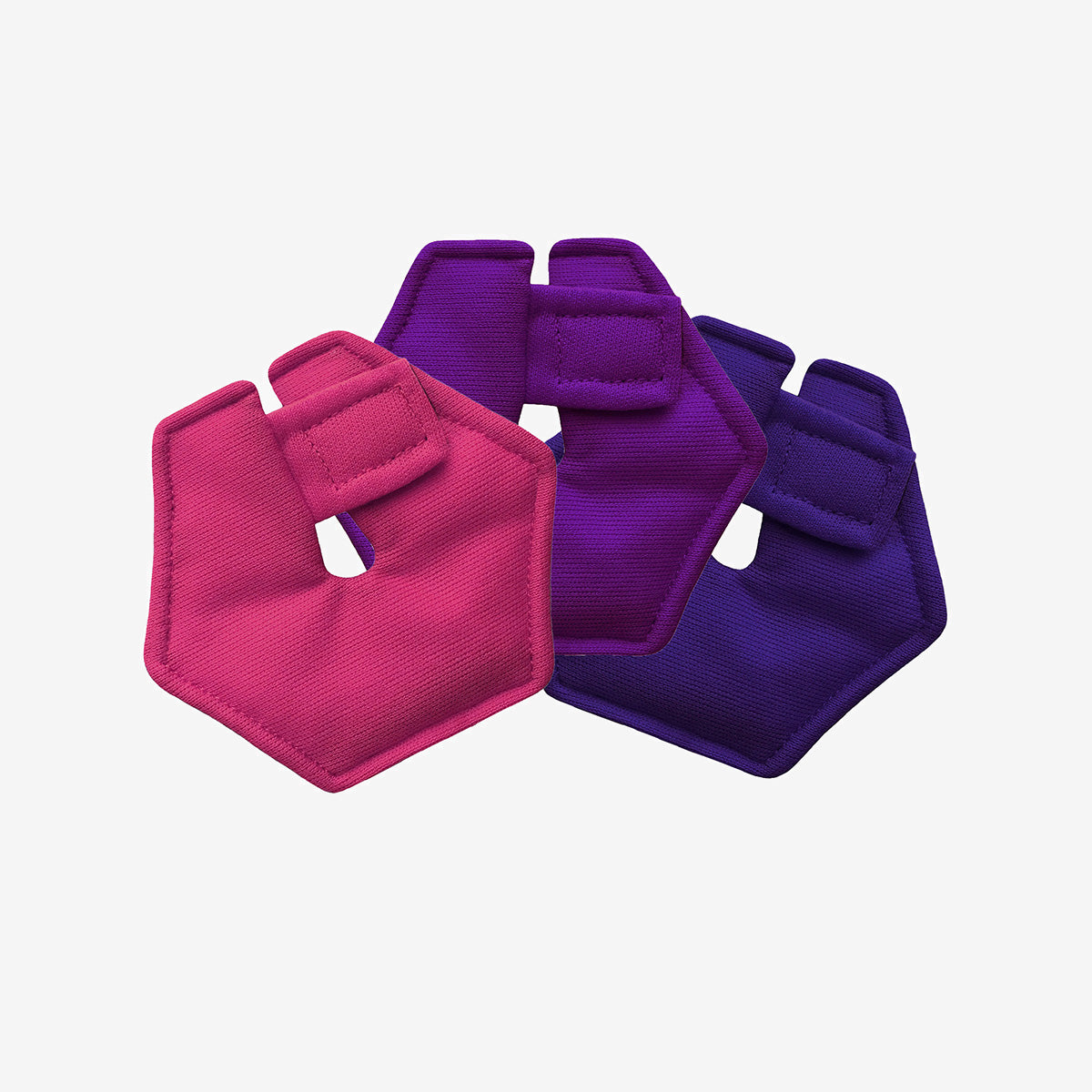 Pack of 3 hexagonal G-tube pads in purple, pink and plum colors