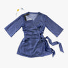 Denim colored Recovery Blouse features a kimono wrap with front and shoulder snaps, providing easy access for nursing mothers, those with limited mobility, chest ports, or post-surgical recovery