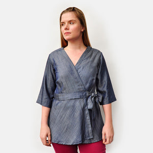 kimono wrap recovery blouse for easy access to central lines, chemo ports, limited mobility, and surgery recovery with pockets for medical accessories and drainage bags