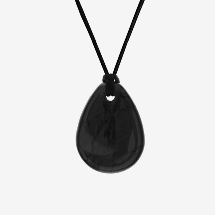 Raindrop black chewelry pendant made from medical grade silicone for chewing needs