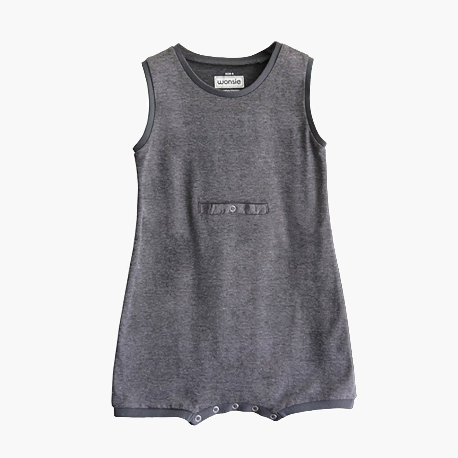 Sleeveless tummy g-tube access Wonsie brand adaptive bodysuit in soft cotton fabric