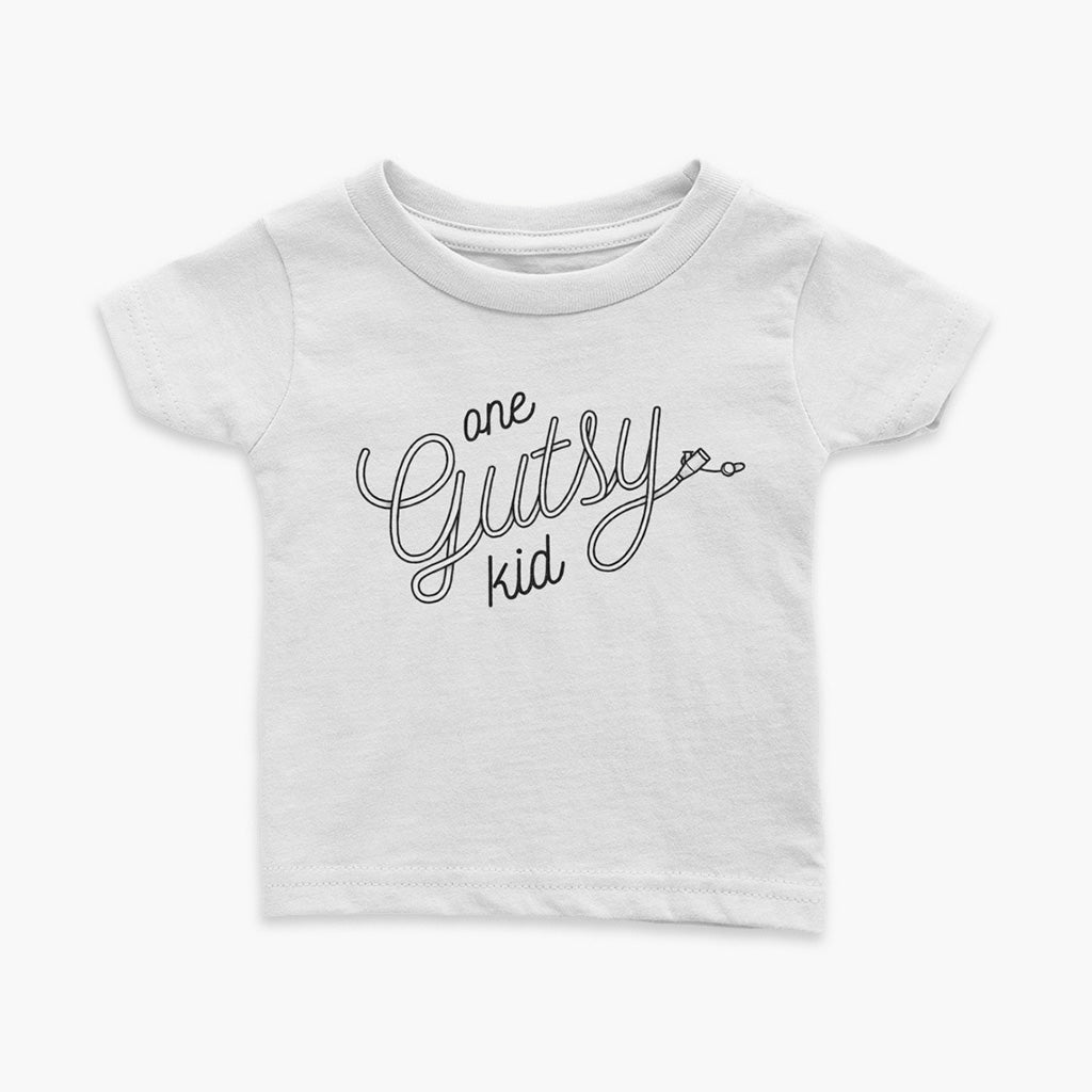 White infant tee shirt with text one gutsy kid