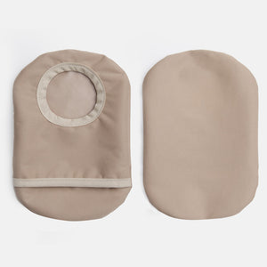 Tan neutral skin tone ostomy bag cover with stoma opening and flap for emptying