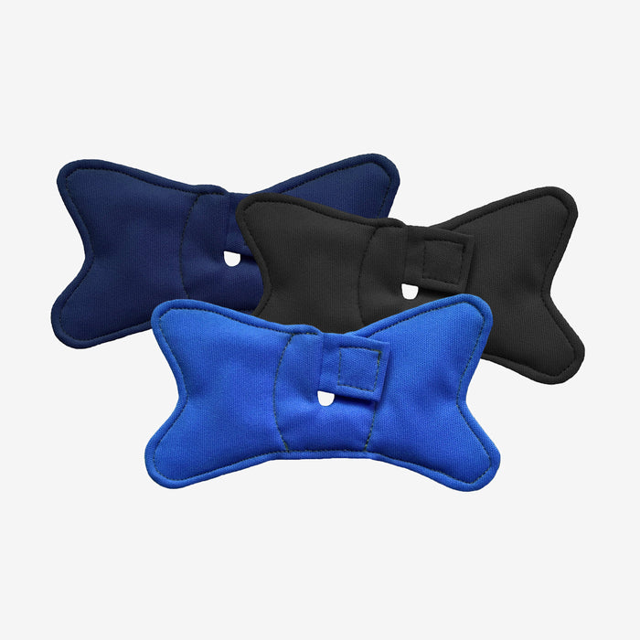3 pack of tracheostomy pads shaped like bowties in blue, navy and black colors