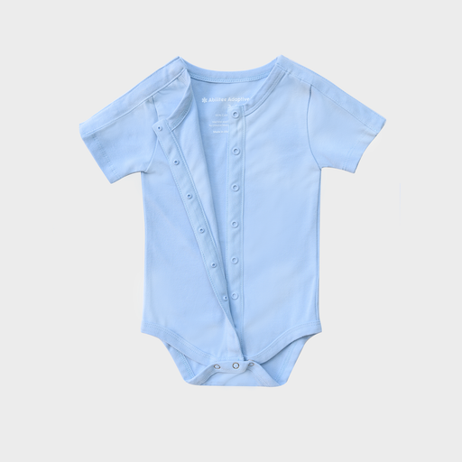Baby blue adaptive infant bodysuit with snaps across both shoulders and vertically down the front, perfect for babies with low muscle tone, feeding tubes, catheters, or ports