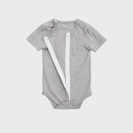 Heather Grey adaptive infant bodysuit with snaps across both shoulders and vertically down the front, perfect for babies with low muscle tone, feeding tubes, catheters, or ports