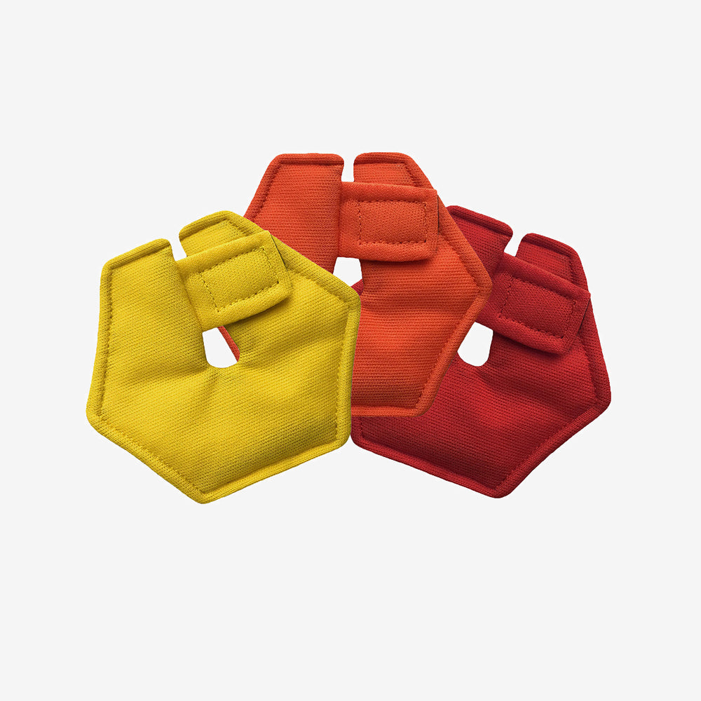 Pack of 3 hexagonal G-tube pads in red, orange, and yellow colors