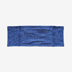 Diabetes insulin pump belt with large pocket and zipper closure in indigo color