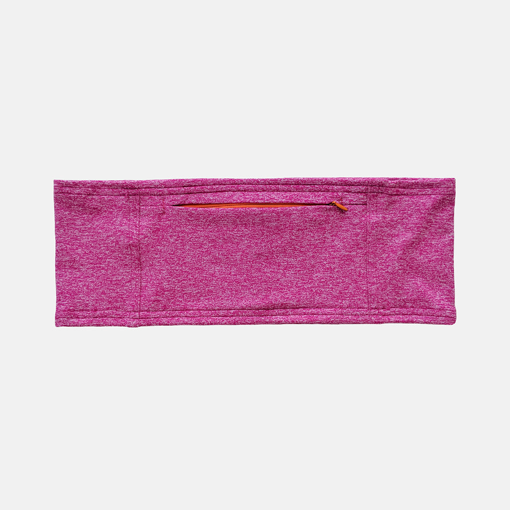 Insulin pump belt made from hot pink lycra with an orange colored zipper