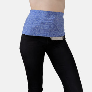 Supportive waistband in soft, moisture-wicking indigo fabric worn to support ostomy cover