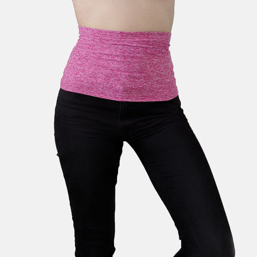 Supportive waistband in soft, moisture-wicking hot pink lycra fabric for ostomy or post surgery