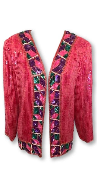 VINTAGE CANDY RED SEQUIN JACKET