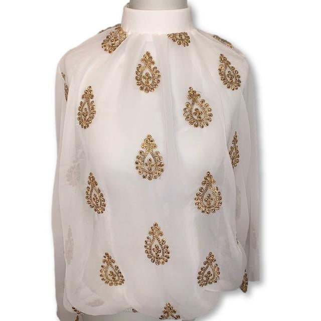 ENTICE BLOUSE - White With Gold Beading