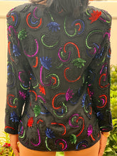 VINTAGE BLACK MULTI COLOR SEQUIN BEADED JACKET