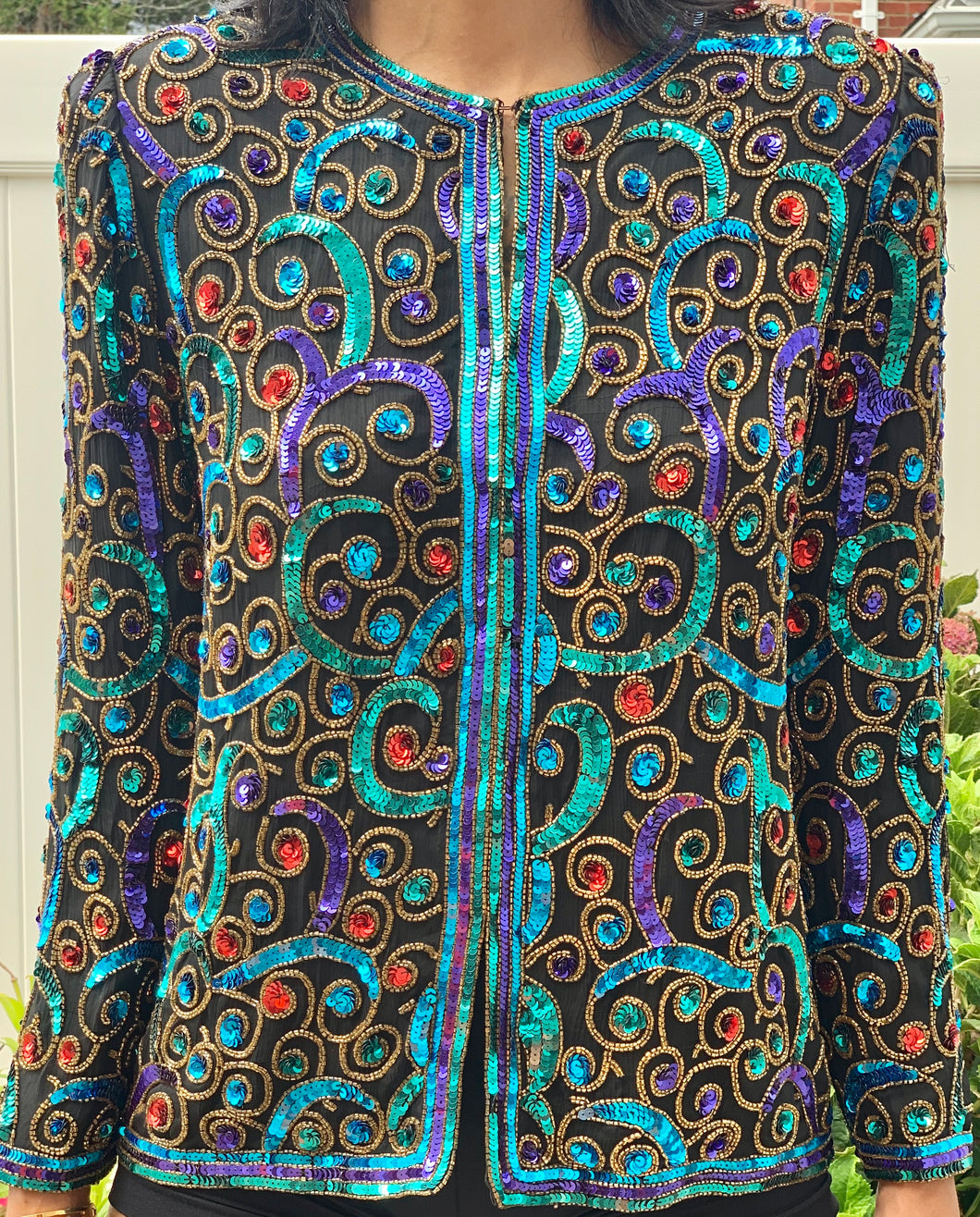 VINTAGE EXTRA MULTI COLOR SEQUIN JACKET