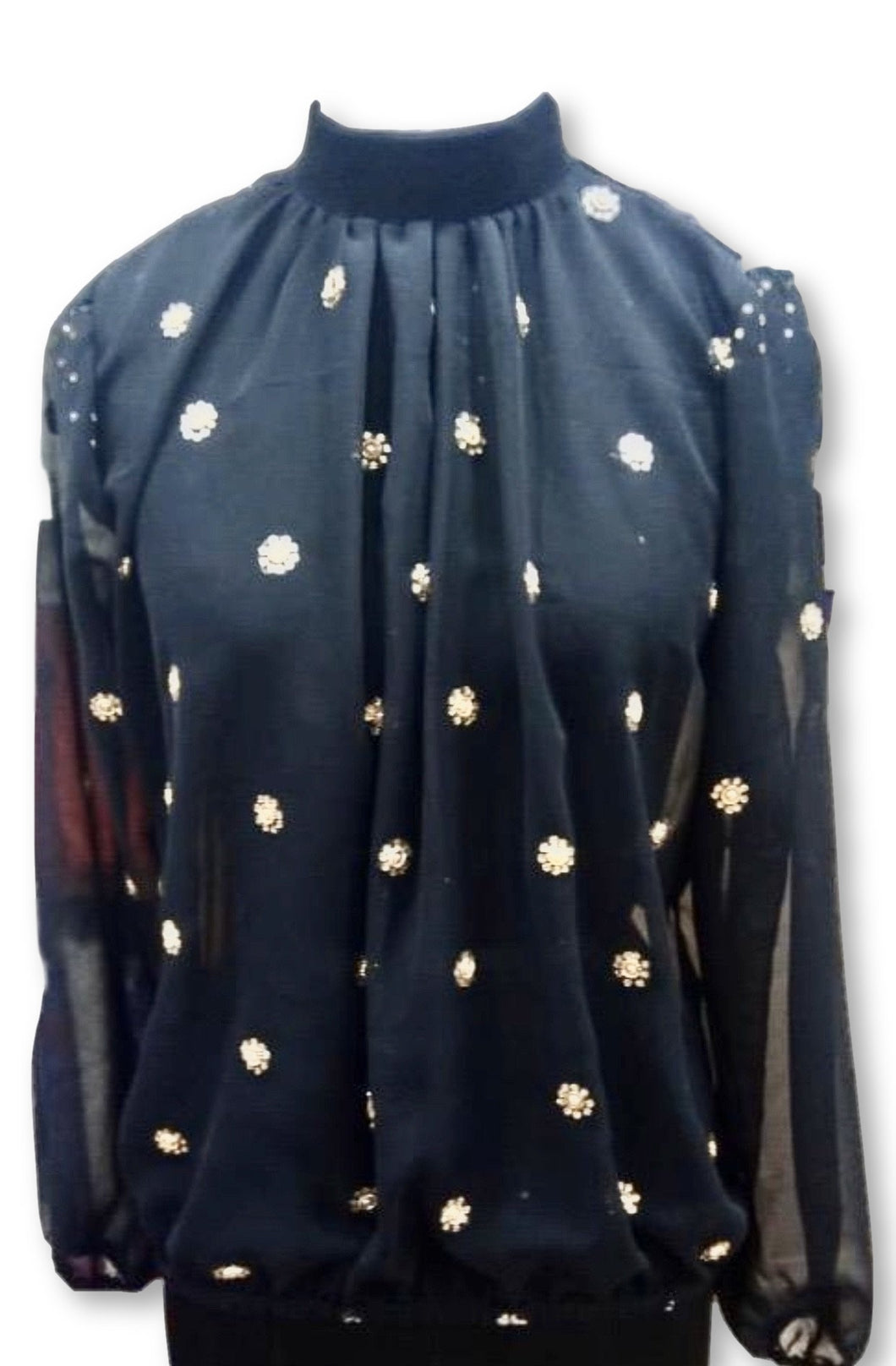 ENTICE BLOUSE - Black With Gold Beading