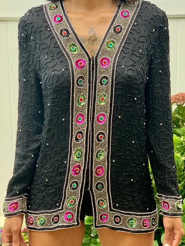 VINTAGE LICORICE SEQUIN BEADED JACKET