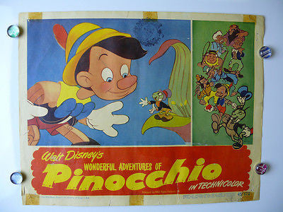 Disney Pinocchio Original Lobby Card Movie Poster 1945