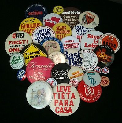 Mixed Lot Of 33 Pinback Buttons #39