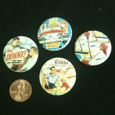 Lot Of 4 Vintage Pinback Buttons #66