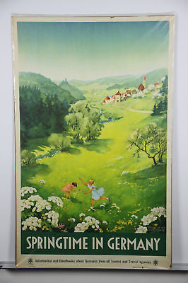 Germany Springtime Original Vintage Travel Poster 1936