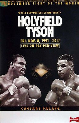 ORIGINAL Mike Tyson Poster Holyfield  CANCELLED Fight MINT RARE Boxing Poster