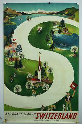 All Roads Switzerland Original Vintage Travel Poster