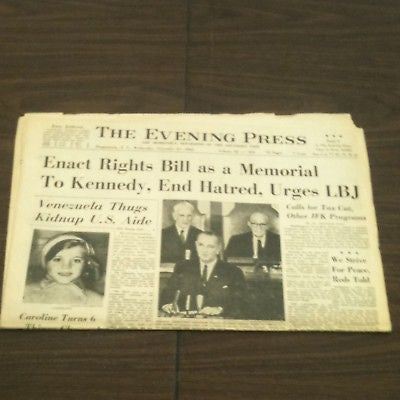 JFK The Evening Press 11/27/1963 Enact Rights Bill