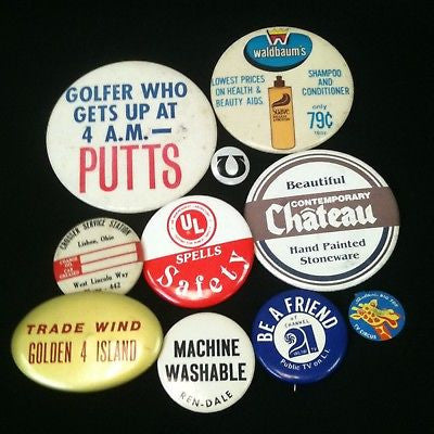 Mixed Lot Of 10 Pinback Buttons #48