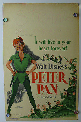 Disney Peter Pan Original Window Card Movie Poster 1953