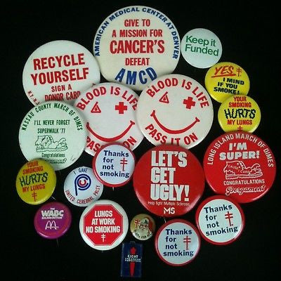 Mixed Lot Of 19 Pinback Buttons-RedX, ACS #3