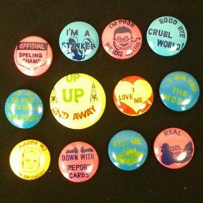 Lot Of 12 Vintage Pinback Buttons Rare! #59