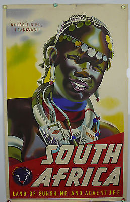 South Africa Land of Sunshine Original Vintage Travel Poster 1940s