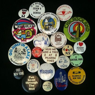 Lot Of 22 Pinback Buttons-Travel #11