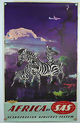 Africa Zebras by SAS Original Vintage Travel Poster 1950's