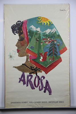Switzerland Arosa Original Vintage Travel Poster 1950's