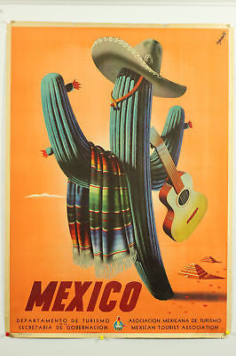Mexico Cactus Guitar Original Vintage Travel Poster