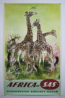 Africa by SAS Giraffes Original Vintage Travel Poster