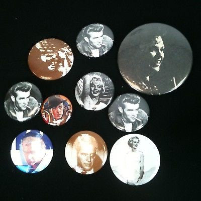 Mixed Lot Of 10 Pinback Buttons-Celebrities #38