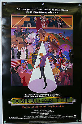 American Pop Original Movie Poster ROLLED 1981 Ralph Bakshi Animation