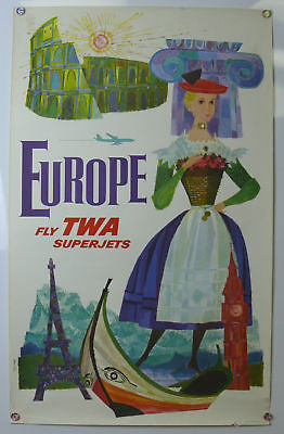 Europe Fly TWA Original Vintage Travel Poster Klein 1960's