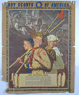 Norman Rockwell Boy Scouts of America Original Vintage Poster Berton Braley poem