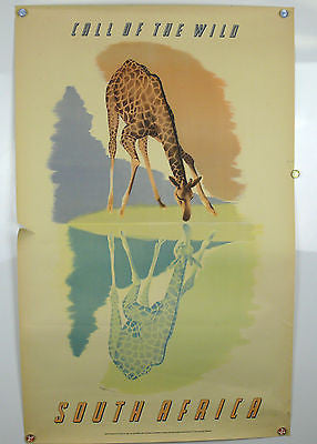 South Africa Call of the Wild Giraffe Original Vintage Travel Poster 1950's