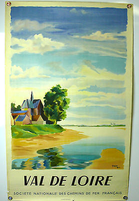 Val De Loire France Original Vintage Travel Poster 1946 artist Troy