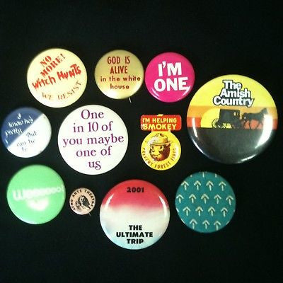 Mixed Lot Of 11 Pinback Buttons #61