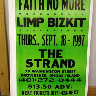 Faith No More + Limp Biskit Original Concert Poster  Card Stock