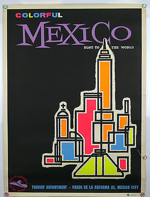 Colorful Mexico Original Vintage Travel Poster 1960s Day Glo Inks