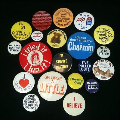 Lot Of 20 Mixed Vintage 70's Pinback Buttons #18