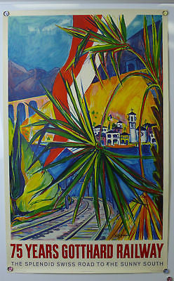 75 Years Gotthard Original Vintage Travel Poster