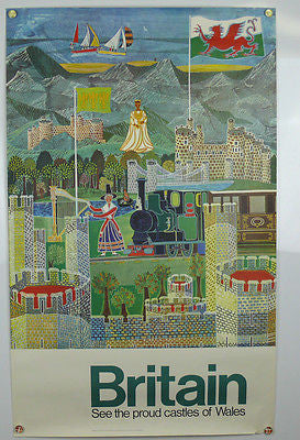 Britain See the proud castles of Wales Original Vintage Travel Poster 1968